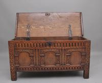 Early 18th Century Carved Oak Coffer with Three Panel Front (2 of 8)