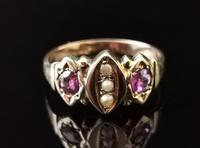 Antique Victorian Amethyst and Pearl Ring, 9ct Rose Gold (4 of 10)