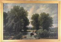 Original Oil on Canvas 'watering the Horses' by William Taunton. Signed c.1870 (2 of 4)