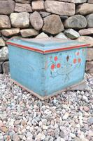 Swedish 'folk art' original blue paint box from hälsingland region, 1847. (3 of 26)