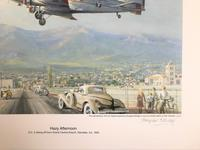 Original lithograph 'Hazy afternoon. D.C.2 taking off from Grand Central Airport, Glendale, Ca. By Douglas Ettridge 1927-2009. Signed and numbered 106/500 (2 of 2)