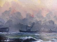 Oil on Board Battle on the Ocean Wave Listed Artist Dion Pears (3 of 12)