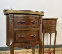 French Marquetry Bedside Tables Oval Cabinets with Marble Tops (5 of 12)