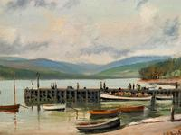 'The Lake District' Exceptional Vintage Seascape Oil On Canvas Painting c1960' (9 of 12)