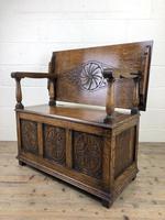 Antique Carved Oak Monks Bench Hall Seat (3 of 10)