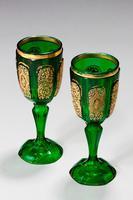 Pair of Bohemian Dark Green Glass Goblets (2 of 3)