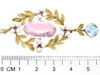 8.84ct Pink Topaz, 1.80ct Aquamarine, 0.10ct Ruby & Enamel, 15ct Yellow Gold Pendant - Antique c.1910 (6 of 9)