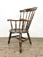 Antique Ash & Elm Armchair with Penny Seat (7 of 9)