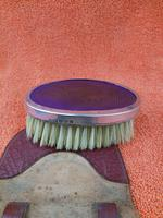 Antique Sterling Silver Hallmarked Purple Brush in Leather Case , 1928 , Birmingham, Daniel Manufacturing Company (5 of 6)