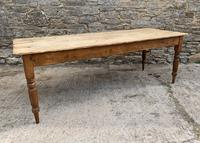 Large Antique Pine Farmhouse Table on Turned Legs (13 of 19)