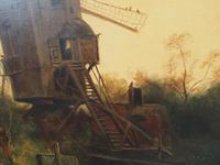 Large Antique Windmill Landscape Oil Painting on Canvas (7 of 12)