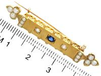 0.18ct Sapphire, Diamond & Pearl, 18ct Yellow Gold Bar Brooch - Antique Victorian c.1890 (7 of 9)