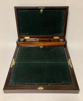 Superb Antique Rosewood Brass Inlaid Writing Slope Box with Double Hinge (5 of 12)