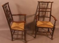 Pair of 19th Century Spindle Back Armchairs with Rush Seats (2 of 6)