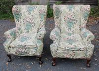 Pair 1920s Mahogany Framed Armchairs with Ball and Claw Feet