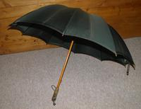 """Antique """"PEERLESS"""" Bottle Green Canopy Umbrella With FOX Frame - 64cm Tall (13 of 13)"""