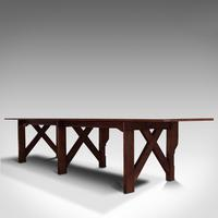 Large 12' Antique Kitchen Table, English, Pine, Industrial, Victorian, 1900 (4 of 12)