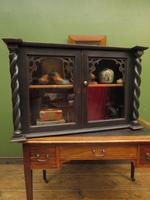 Antique Victorian Gothic Black Painted Curio Display Cabinet (3 of 13)