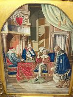"""Large Artwork Gilt Gesso Framed 19th Century Tapestry French Royal Court """"Playing Chess"""" (34 of 44)"""