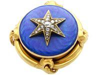 0.35ct Diamond & Enamel, 18ct Yellow Gold Brooch - Antique c.1880 (3 of 9)