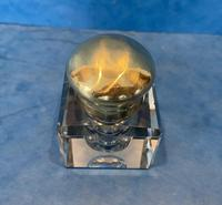 Victorian Cut Glass Inkwell with a Brass Top (5 of 10)