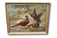 Outstanding Large Oil Painting of Pheasants by François-frédéric Grobon