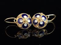Vintage Russian enamel earrings, silver gilt