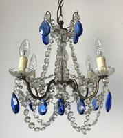 Vintage French Chandelier 4 Arm Crystal Ceiling Light with Sapphire Blue Glass (6 of 13)