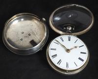 Antique Silver Pair Case Pocket Watch Fusee Verge Escapement Key Wind Enamel Dial (3 of 10)