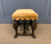 Carolean Style Upholstered Walnut Stool (6 of 6)