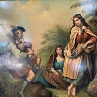 Antique Georgian oil painting on tin of piper playing to two ladies (4 of 12)