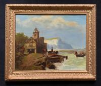 'White Cliffs Of Dover' Original 19thc Victorian Antique Seascape Oil Painting