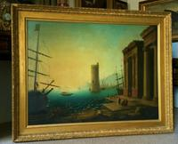 After Claude Lorrain Huge Superb 19th Century Venice Seascape Oil Painting (2 of 22)