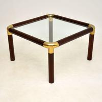 1970's Vintage Mahogany & Brass Coffee Table (2 of 7)