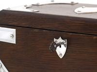 Late Victorian Oak and Silver Plate Rectangular Two Compartment Tea Caddy (4 of 8)