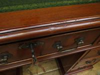 Small Antique Reproduction Pedestal Desk with Leather top, Brights of Nettlebed (4 of 10)