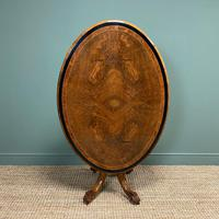 Victorian Oval Figured Walnut Inlaid Antique Side Table (5 of 7)