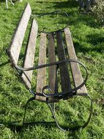 Old Weathered Oak and Iron 6 Bar Garden Bench (2 of 6)