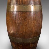 Antique Coopered Barrel, English, Oak, Brass, Stick Stand, Late Victorian c.1900 (8 of 10)