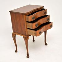 Antique Figured Walnut Side Table with 3 Drawers (4 of 7)