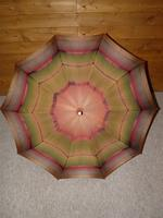 Antique Red / Orange Patterned Canopy Umbrella W/Red Velvet Handle & Canopy Cover (12 of 14)