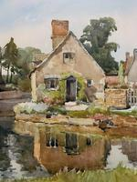 Gorgeous Early 20th Century Country River Hamlet British Landscape Watercolour Painting (8 of 12)