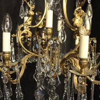 French Pair Bronze 12 Light Antique Chandeliers (5 of 11)