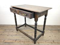 Antique Oak Side Table with Geometric Drawers (4 of 10)