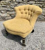 Small Antique Victorian Upholstered Salon Chair (4 of 17)