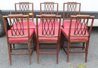 1800's Set 6 Mahogany Dining Chairs with Red Upholstery (2 of 3)