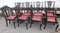 1900's Set of 8 Mahogany Chippendale style Dining Chairs Pop out Seats (2 of 3)
