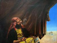 Beautiful Original 19thc Portrait Oil Painting of Smoking Arabian Gentleman (11 of 13)