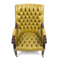 Regency Style Mahogany Library Chair with Mustard Leather Button Back (2 of 6)