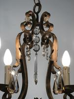 Gilt Bronze Toleware Chandelier with Crystal Droplets (5 of 8)